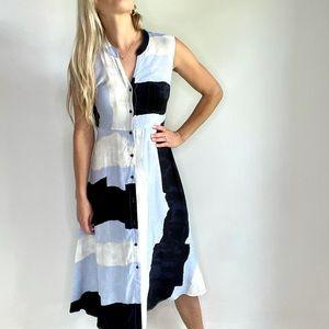 Nic & Zoe Black, Blue, White Button Down Dress XS